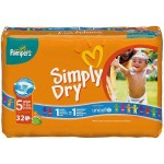 Pack de 32 Couches Pampers Simply Dry sur layota