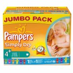 Pack économique 308 Couches Pampers Simply Dry sur layota
