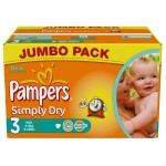 280 Couches Pampers Simply Dry taille 3