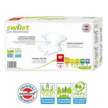 30 Couches bio écologiques Swilet New Baby Dry taille 1