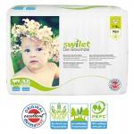 Pquet 28 Couches bio écologiques de Swilet New Baby Dry sur layota