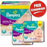 Pack Jumeaux 376 couches Pampers Active Fit