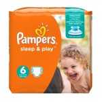 30 Couches Pampers Sleep & Play taille 6